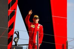 Charles Leclerc, Ferrari, 2nd position, arrives on the podium