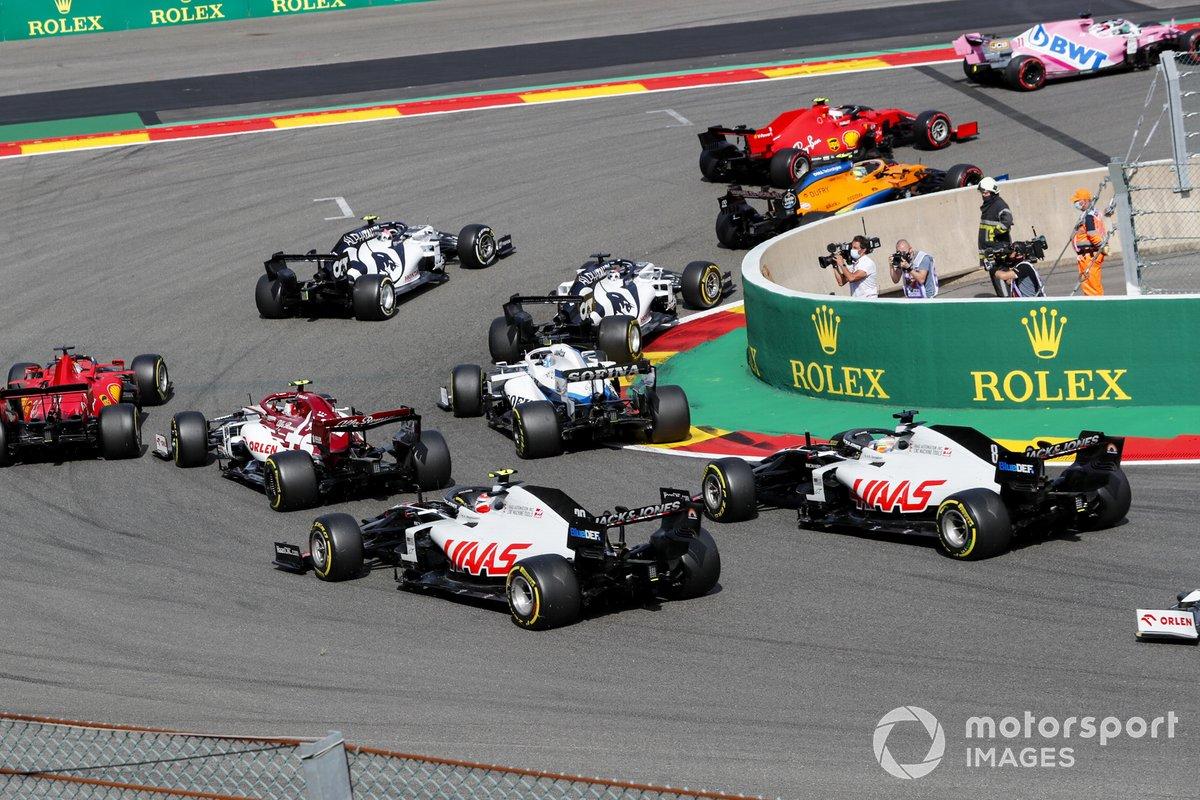 Sergio Pérez, Racing Point RP20, Charles Leclerc, Ferrari SF1000, Lando Norris, McLaren MCL35, Pierre Gasly, AlphaTauri AT01, Daniil Kvyat, AlphaTauri AT01