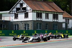 Pierre Gasly, AlphaTauri AT01, Sergio Perez, Racing Point RP20, Daniel Ricciardo, Renault F1 Team R.S.20, and Alex Albon, Red Bull Racing RB16
