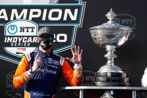 Scott Dixon, Chip Ganassi Racing Honda celebrates winning sixth IndyCar championship