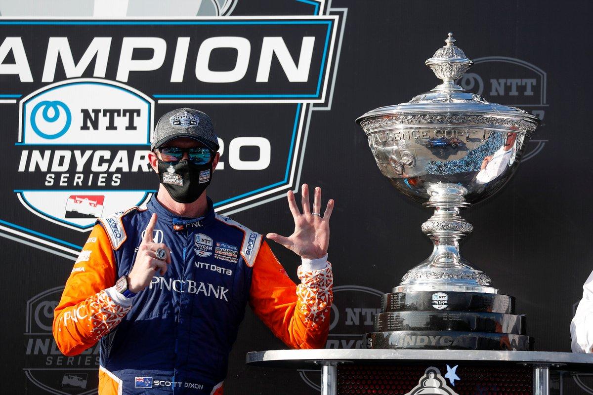 Scott Dixon, el Chip Ganassi Racing Honda celebra su sexto campeonato de IndyCar