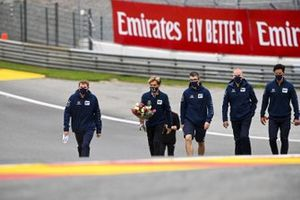 Pierre Gasly, AlphaTauri walks the track with his engineers