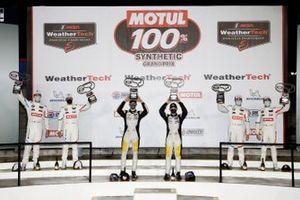 #3 Corvette Racing Corvette C8.R, GTLM: Antonio Garcia, Jordan Taylor, podium, #24 BMW Team RLL BMW M8 GTE, GTLM: John Edwards, Jesse Krohn, #25 BMW Team RLL BMW M8 GTE, GTLM: Connor De Phillippi, Bruno Spengler