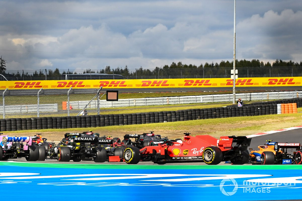 Esteban Ocon, Renault F1 Team R.S.20, Sebastian Vettel, Ferrari SF1000, Lando Norris, McLaren MCL35