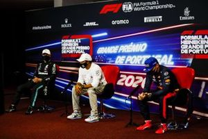 Valtteri Bottas, Mercedes-AMG F1, Pole man Lewis Hamilton, Mercedes-AMG F1, and Max Verstappen, Red Bull Racing, in the post Qualifying Press Conference