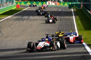 Louis Deletraz, Charouz Racing System, leads Robert Shwartzman, Prema Racing, and Guanyu Zhou, UNI-Virtuosi