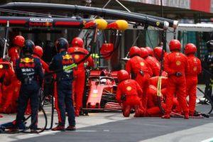 Sebastian Vettel, Ferrari SF1000, makes a pit stop