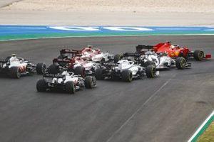 Sebastian Vettel, Ferrari SF1000, Daniil Kvyat, AlphaTauri AT01, Antonio Giovinazzi, Alfa Romeo Racing C39, George Russell, Williams FW43, Kimi Raikkonen, Alfa Romeo Racing C39, Kevin Magnussen, Haas VF-20, and Romain Grosjean, Haas VF-20