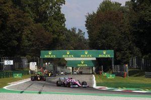 Lance Stroll, Racing Point RP20, Max Verstappen, Red Bull Racing RB16, and Esteban Ocon, Renault F1 Team R.S.20