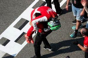 Race Winner Frederik Vesti, Prema Racing celebrates in Parc Ferme