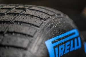 Water droplets on a Pirelli wet tyre