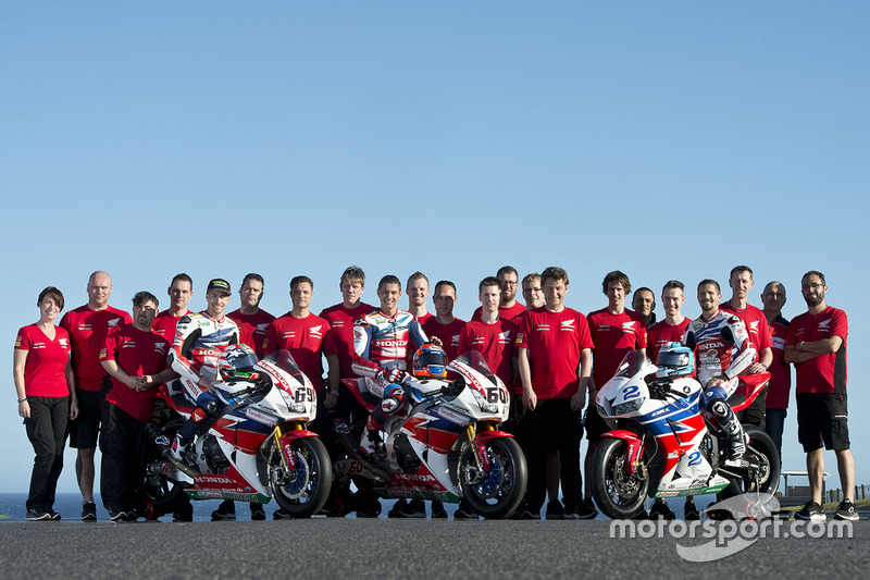 Nicky Hayden, Honda WSBK, Michael van der Mark, Honda WSBK, P.J. Jacobsen, del equipo Honda WSS y su
