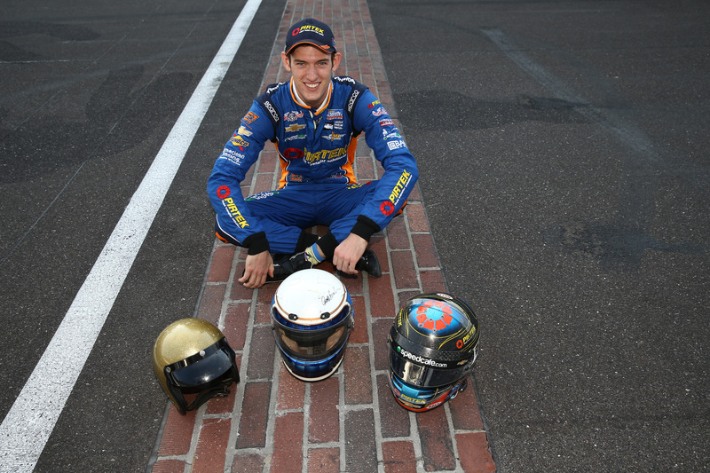 Matt Brabham, Team Murray Chevrolet with the helmets of his grandfather, Sir Jack Brabham and father, Geoff Brabham