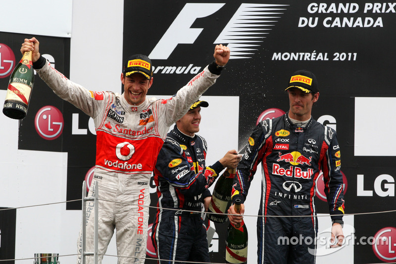 2011 - 1. Jenson Button, 2. Sebastian Vettel, 3. Mark Webber