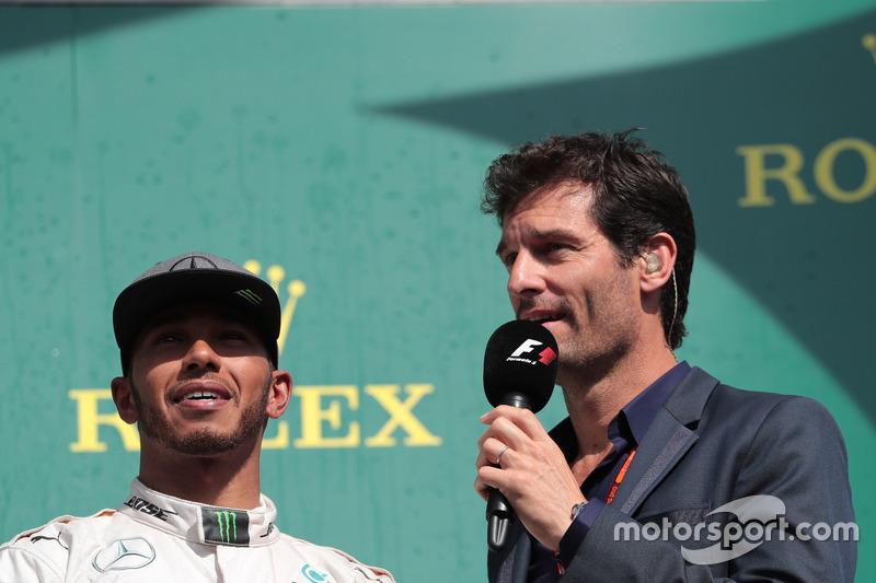 Lewis Hamilton, Mercedes AMG F1 ve Mark Webber, Porsche Team WEC Pilotu / Channel 4 Sunucusu