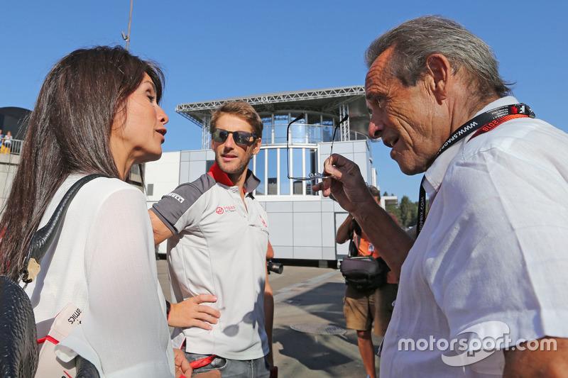 Romain Grosjean, Haas F1 Team und Jacky Ickx,