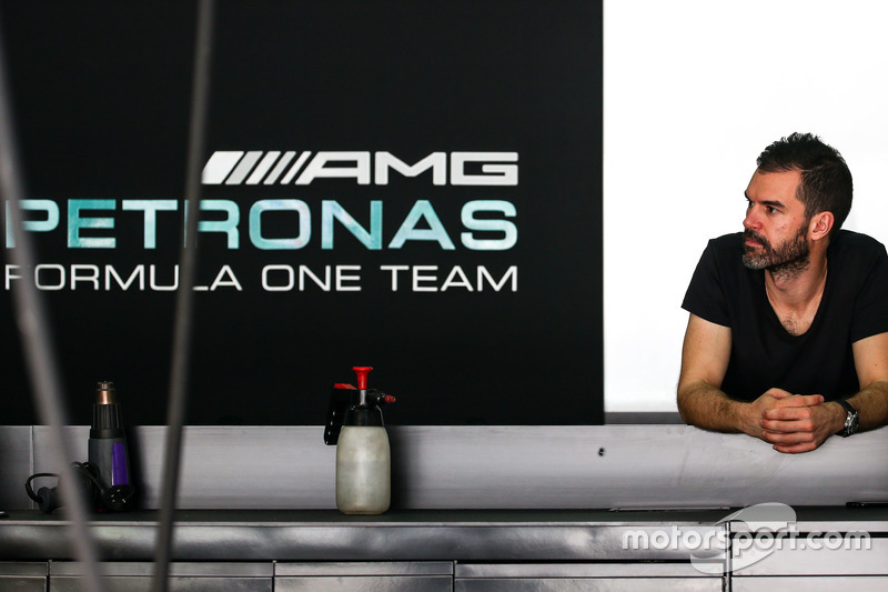 Marc Hynes, in the Mercedes AMG F1 pit garage