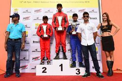 Podium: Race winner Manav Sharma, BPC Racing, second place Chirag Ghorpade BPC Racing, third place Jonathan Kuriakose, Rayo Racing