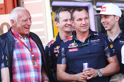Dietrich Mateschitz, CEO and Founder of Red Bull celebrates with the team
