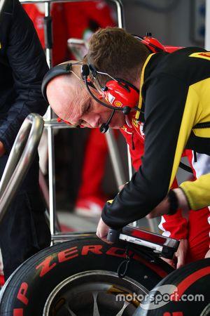 Jock Clear, Ferrari Engineering Director with a Pirelli Tyre Technician