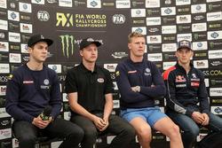 Anton Marklund, Volkswagen Motorsport; Kevin Eriksson, Olsbergs MSE; Johan Kristoffersson, Volkswage