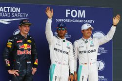 Qualifying top three in parc ferme (L to R): Max Verstappen, Red Bull Racing, third; Lewis Hamilton,