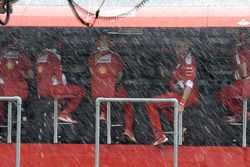 Ferrari pit gantry in the rain