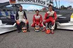 Los pilotos Esteban Guerrieri, Matías Milla y Matías Rossi en pruebas con F4 Sudamericana
