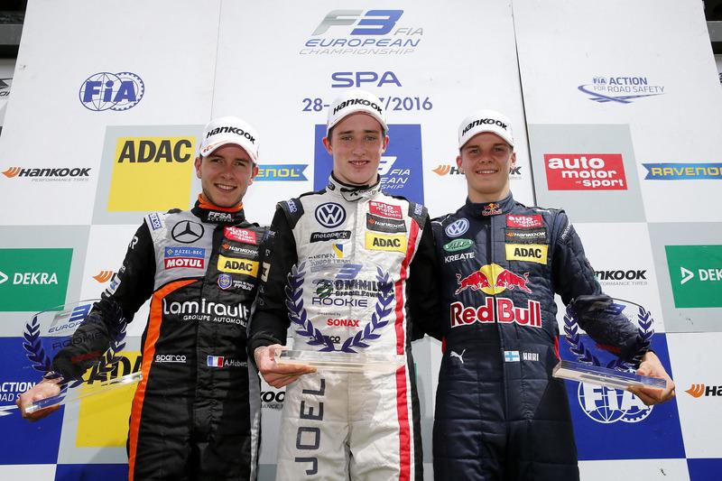 Podium des rookies : Joel Eriksson, Anthoine Hubert, Niko Kari