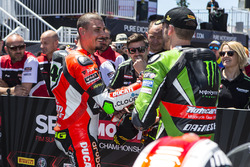 Third place superpole Davide Giugliano, Ducati Team and polesitter Tom Sykes, Kawasaki Racing