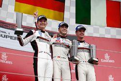 Podium: winner Sven Muller, second place Mathieu Jaminet, third place Matteo Cairoli