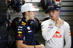 Max Verstappen, Red Bull Racing, talks to Pierre Gasly, Reserve Driver, Red Bull Racing