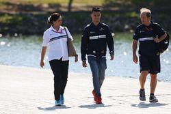 Monisha Kaltenborn, Team Principal and CEO, Sauber, Pascal Wehrlein, Sauber and Josef Leberer
