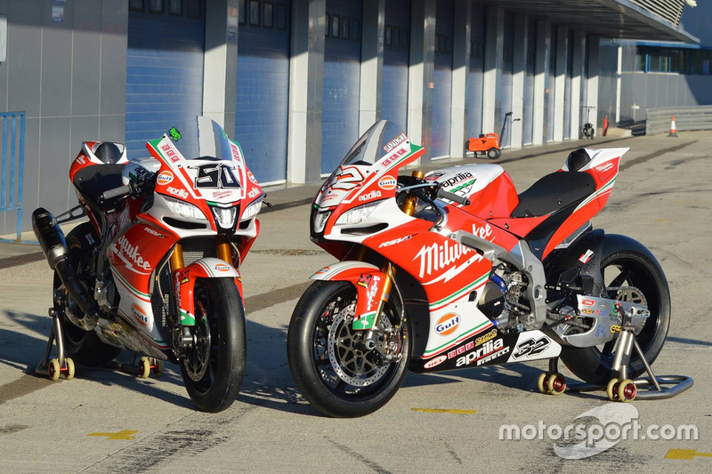Die Bikes von Lorenzo Savadori, Milwaukee Aprilia World Superbike Team, und Eugene Laverty, Milwauke