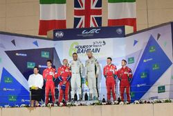 LMGTE Pro Podium: second place #51 AF Corse Ferrari 488 GTE: Gianmaria Bruni, James Calado, first pl