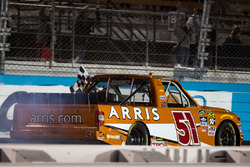 Race winner Daniel Suarez, Kyle Busch Motorsports Toyota celebrates