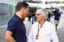 Bernie Ecclestone im Gespräch mit Christian Horner, Red Bull Racing Teamchef