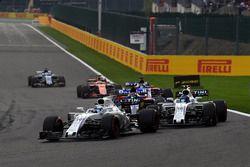Felipe Massa, Williams FW40 leads Lance Stroll, Williams FW40