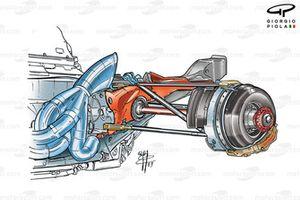 Echappement et freins arrière de la Ferrari F2003-GA