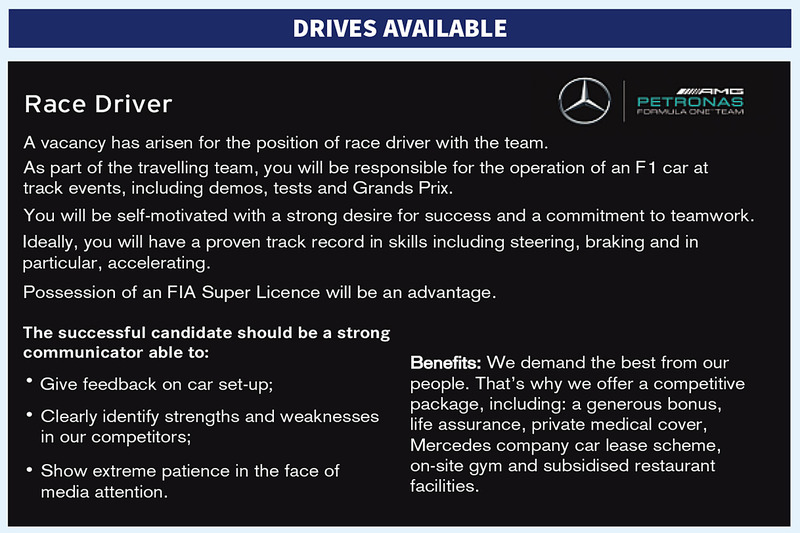 Anuncio de búsqueda de piloto para Mercedes AMG F1