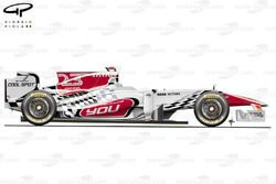 HRT F111 side view, launch car