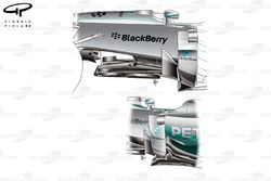 Mercedes W05 wing mirror mount and supplementary winglets changed (newer spec bottom)
