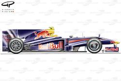 Vue latérale de la Red Bull RB5, à Melbourne