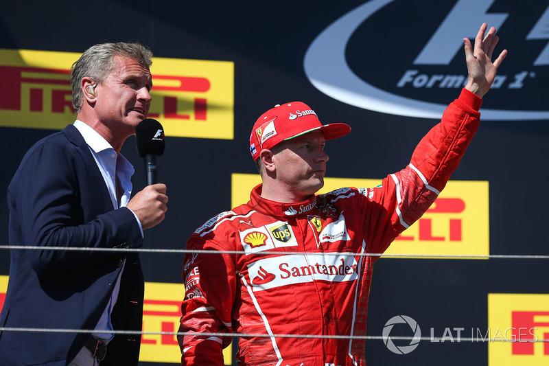 David Coulthard, Channel Four TV y Kimi Raikkonen, Ferrari en el podio