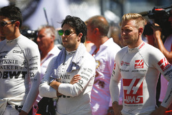 Esteban Ocon, Force India, Sergio Perez, Force India, Kevin Magnussen, Haas F1 Team