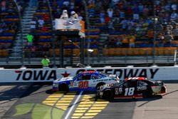 Ryan Preece, Joe Gibbs Racing Toyota drives under the checkered flag to win