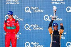 Lucas di Grassi, ABT Schaeffler Audi Sport, celebrates on the podium with Stéphane Sarrazin, Techeet