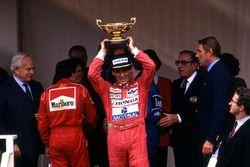 Podium: race winner Ayrton Senna, McLaren, second place Jean Alesi, Ferrari, third place Nigel Mansell, Williams, Jean Marie Balestre,President FISA, HSH Prince Rainier , HSH Princess Stephanie of Monaco, HSH Prince Albert of Monaco, Ron Dennis, McLaren