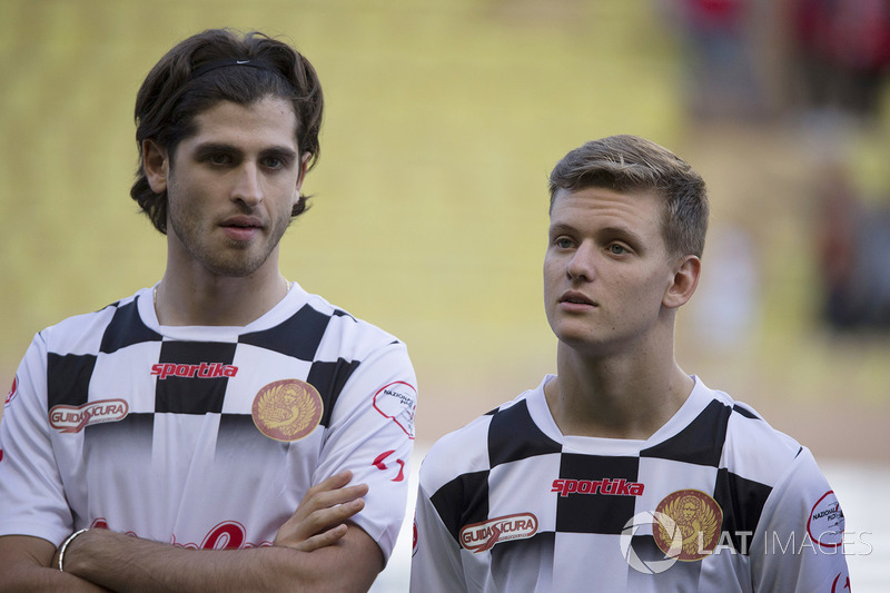 Antonio Giovinazzi, Ferrari Reserve Driver, Mick Schumacher at World Stars Football Match