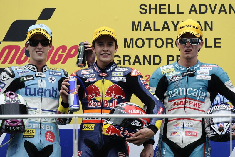 Le podium du GP de Malaisie 2010 de 125cc : Marc Márquez, Pol Espargaró, Nicolás Terol